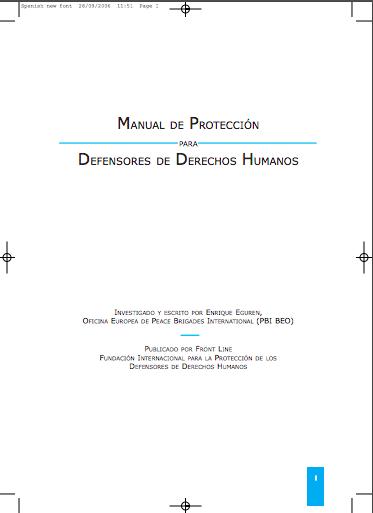 Manual de Protección para Defensores de Derechos Humanos.