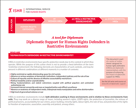 Diplomatic Support for Human Rights Defenders in Restrictive Environments. A tool for Diplomats.