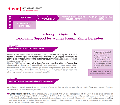 Diplomatic Support for Women Human Rights Defenders. A tool for Diplomats