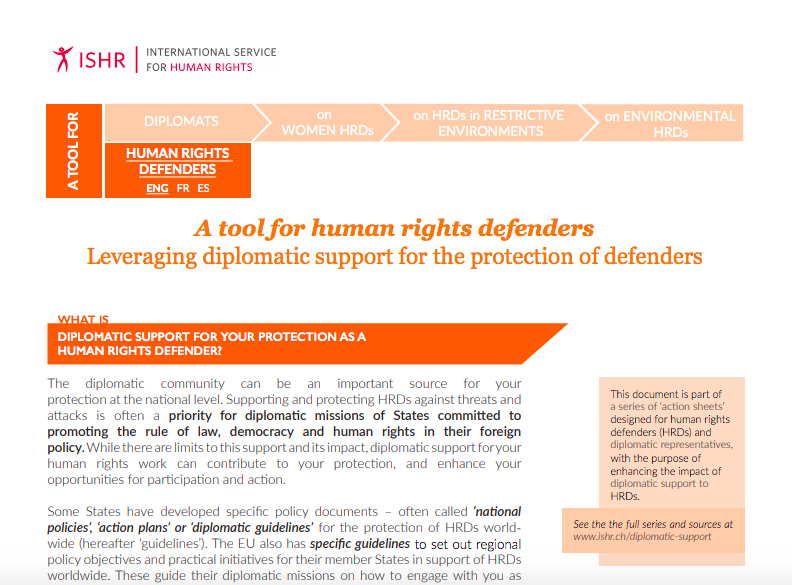 Leveraging diplomatic support for the protection of defenders. A tool for human rights defenders