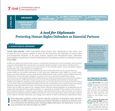 Protecting Human Rights Defenders as Essential Partners. A tool for Diplomats
