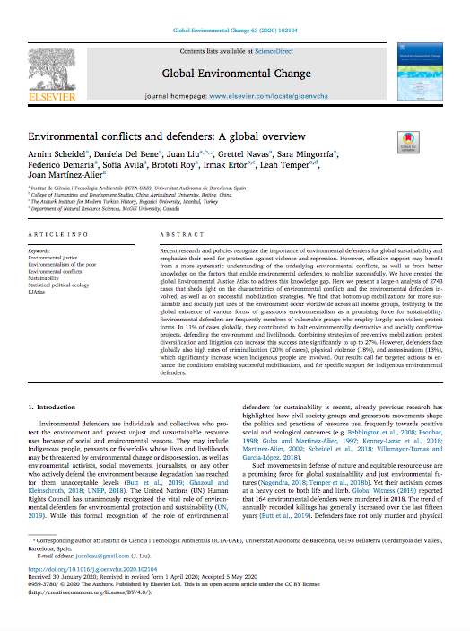 Environmental conflicts and defenders: A global overview