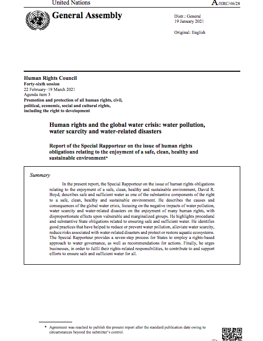 Human rights and the global water crisis: water pollution, water scarcity and water-related disasters